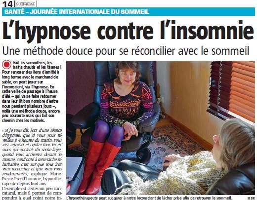 sommeil et hypnose retrouvez mon interview pour sudpresse blog d 39 hypnose th rapie coaching. Black Bedroom Furniture Sets. Home Design Ideas